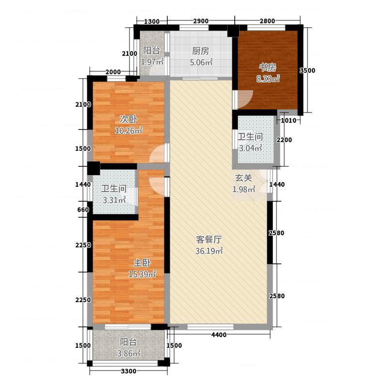 尚景园32125.20㎡A户型3室2厅2卫1厨