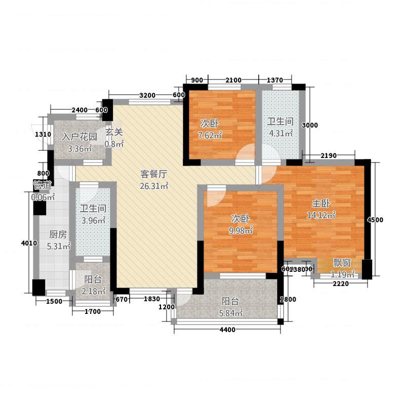 凤凰育才32.18㎡一期3号楼标准层B户型2室2厅2卫1厨