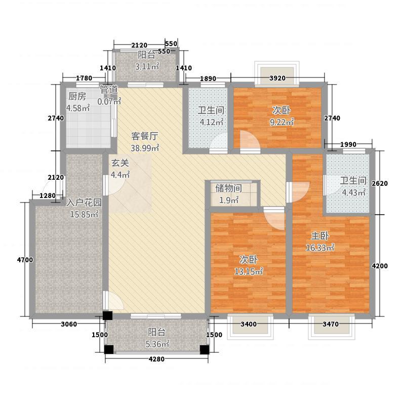 天瑞凤鸣花园2134.20㎡多层D2户型3室2厅2卫1厨