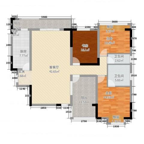 金域城邦3室1厅2卫1厨32134.00㎡户型图
