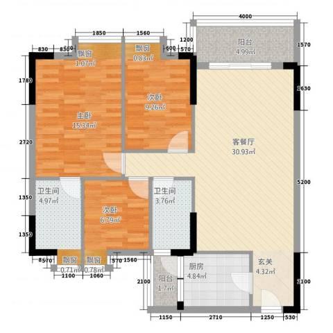 明睿华海大厦3室1厅2卫1厨82.57㎡户型图