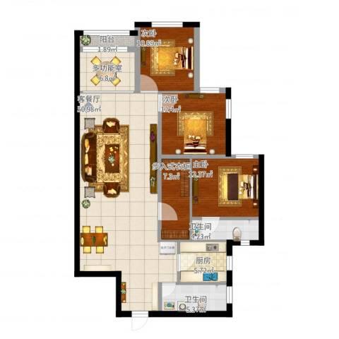 开发区万国公馆3室1厅2卫1厨167.00㎡户型图