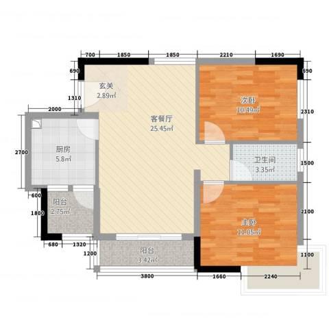佛奥棕榈园2室1厅1卫1厨71.11㎡户型图