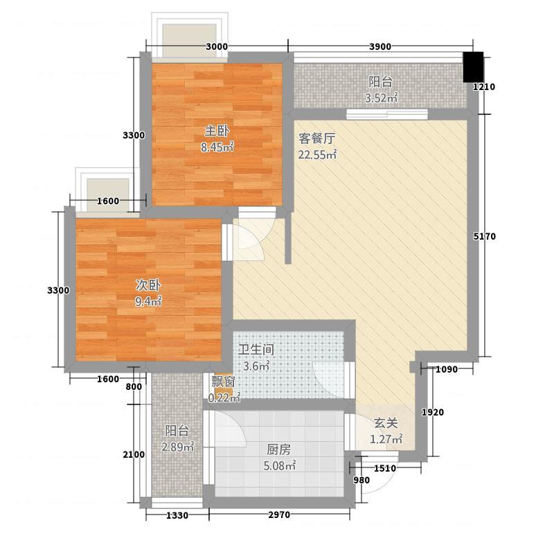 广慧好望角574.20㎡一期5号楼标准层B2户型2室2厅1卫1厨