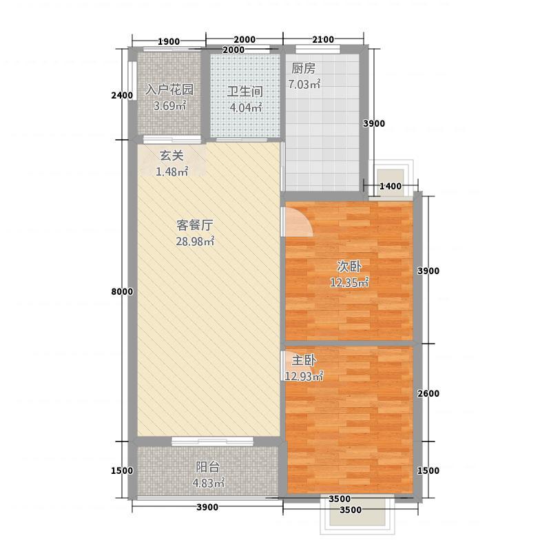 温岭东豪庭211.20㎡两居室户型2室1厅1卫