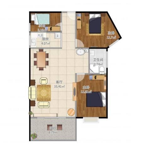 益泰大厦3室1厅1卫1厨108.00㎡户型图