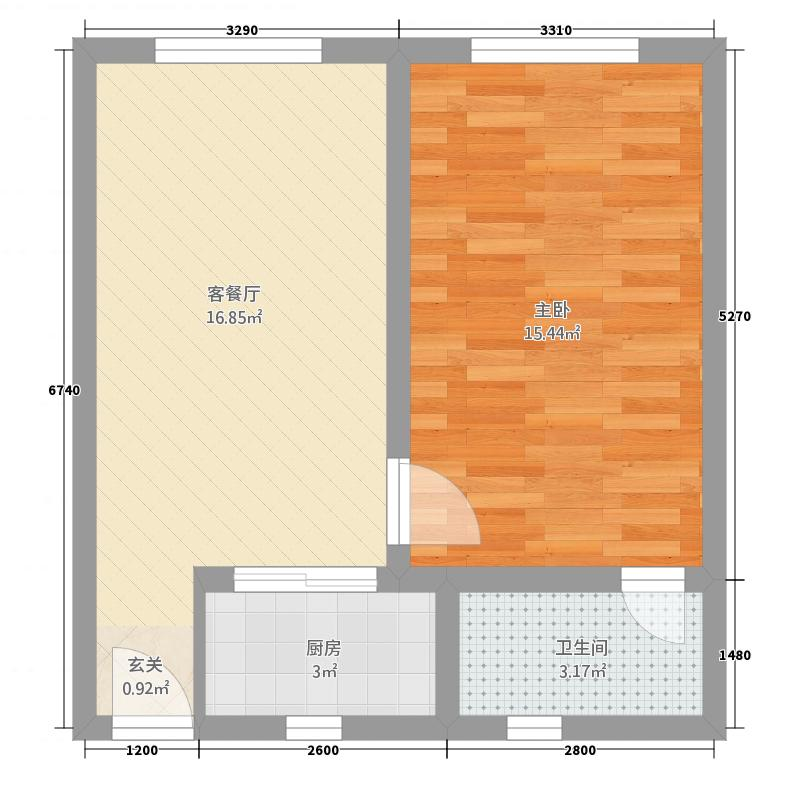 金美花园55.66㎡C户型1室1厅1卫1厨