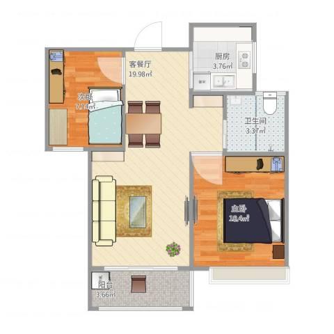 朗诗未来街区2室1厅1卫1厨67.00㎡户型图