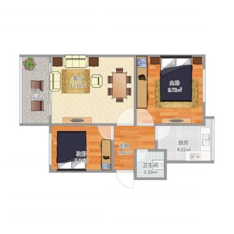 前锋小区B42室1厅1卫1厨56.00㎡户型图