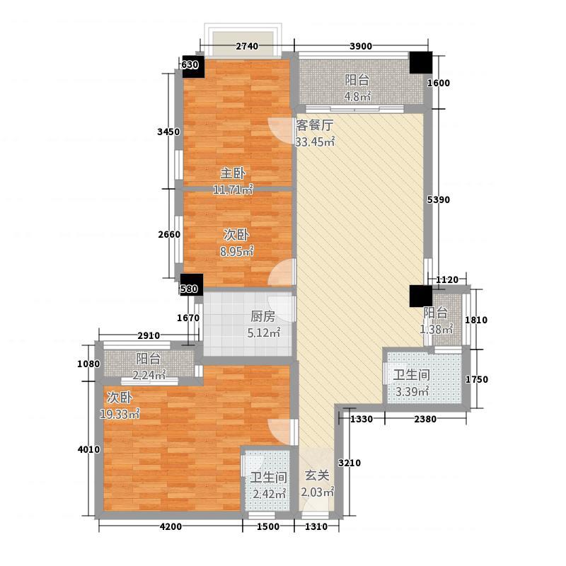 玫瑰湾124.80㎡K户型3室2厅2卫