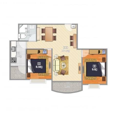 宝盛园2室1厅1卫1厨74.00㎡户型图