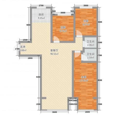 天地・凤凰城3室1厅2卫0厨123.00㎡户型图