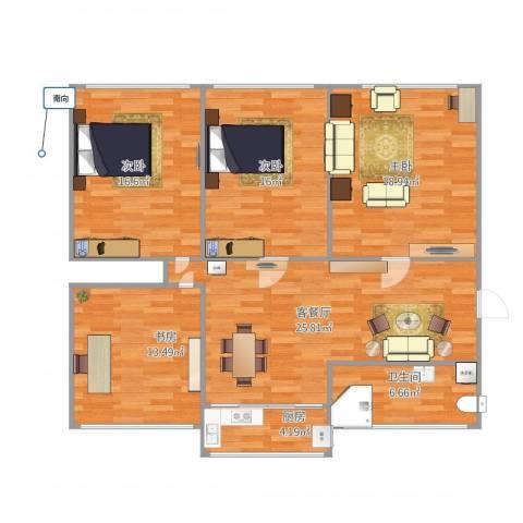 光机八区4室1厅1卫1厨136.00㎡户型图