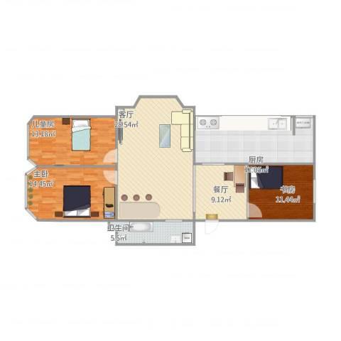 沁园春景3室2厅1卫1厨106.01㎡户型图