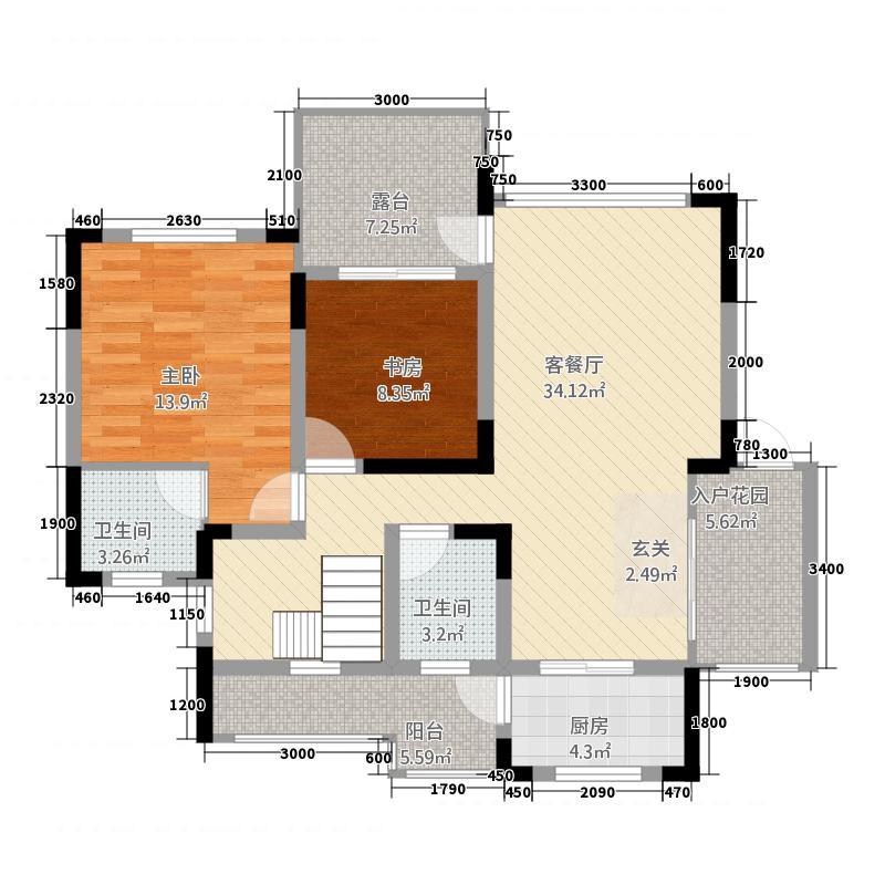 卢山金江港湾114163.82㎡1期B14栋标准层1跃下户型4室3厅4卫1厨