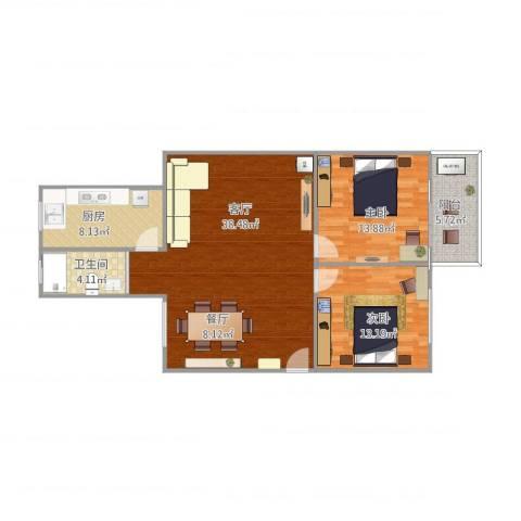 莲花五村龙华里2室1厅1卫1厨111.00㎡户型图
