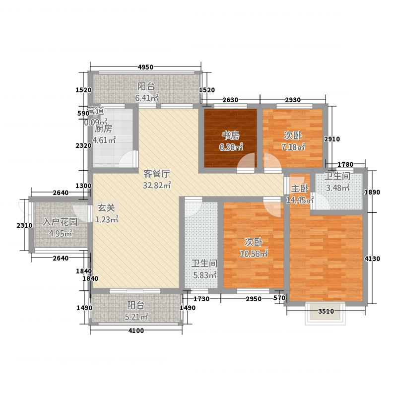 川硐教育园区136.13㎡怡馨苑户型4室2厅2卫1厨