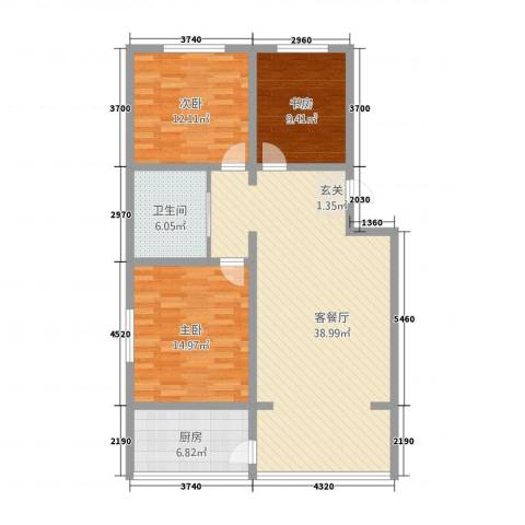 汉浦新村3室1厅1卫1厨125.00㎡户型图