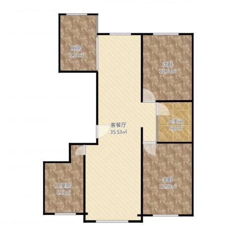 龙湾3室1厅1卫1厨130.00㎡户型图