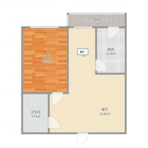 谊城公寓1室1厅1卫1厨73.00㎡户型图
