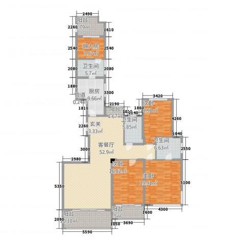 公园道1号3室1厅3卫1厨227.00㎡户型图