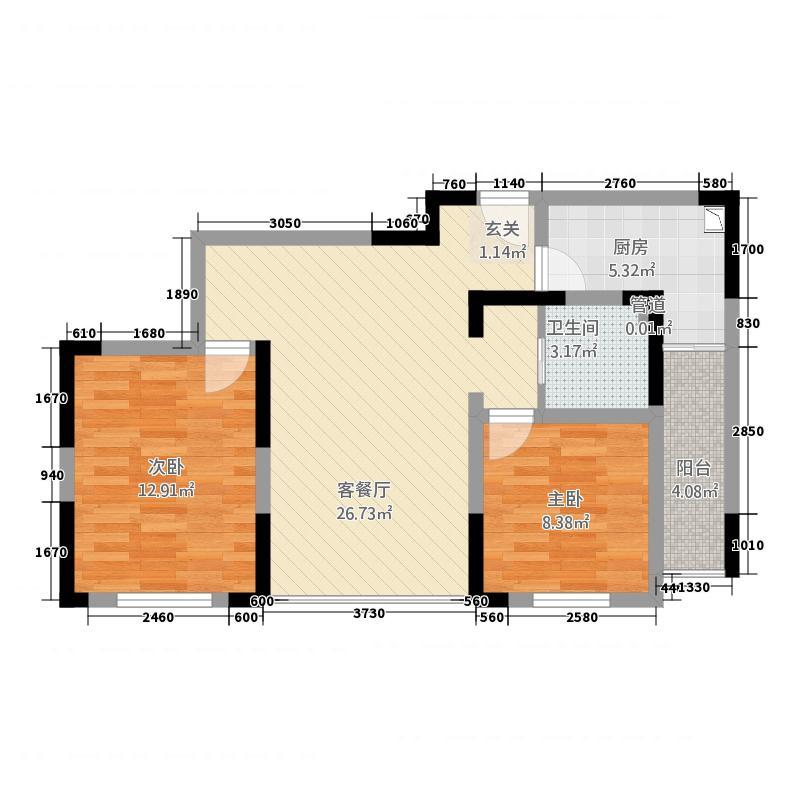 苏尚帝景88.00㎡一期5#D户型2室2厅1卫1厨