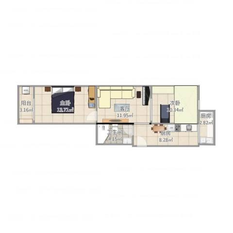 瑞通里2室1厅1卫2厨74.00㎡户型图