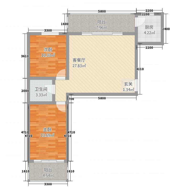 天御锦城211.84㎡户型2室1厅1卫1厨