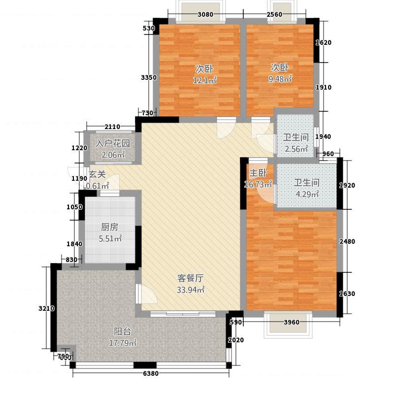 江津金科中央公园城12.51㎡一期A3户型3室2厅2卫1厨