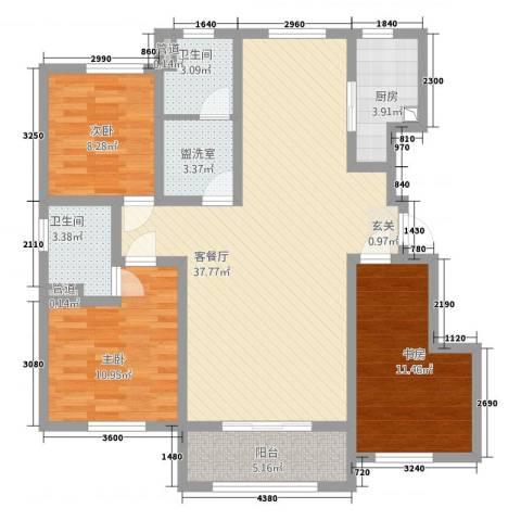 亿博上城3室2厅2卫1厨1128.00㎡户型图