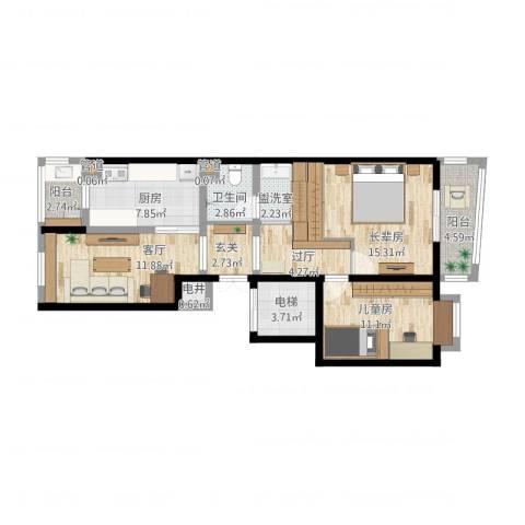 美晨家园1室2厅1卫1厨105.00㎡户型图