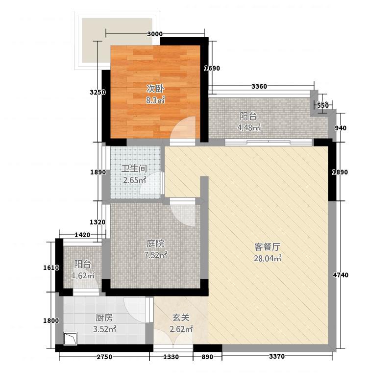 龙川北郡二期77.00㎡二期5栋标准层A户型2室2厅1卫1厨