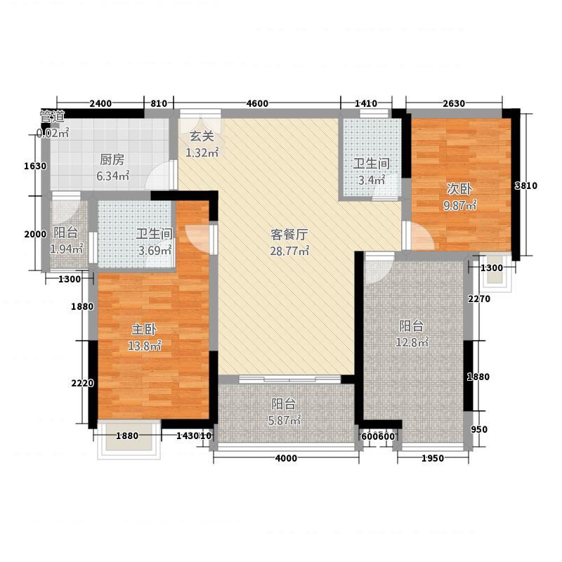 轩达绿地中央17.33㎡户型2室2厅2卫1厨