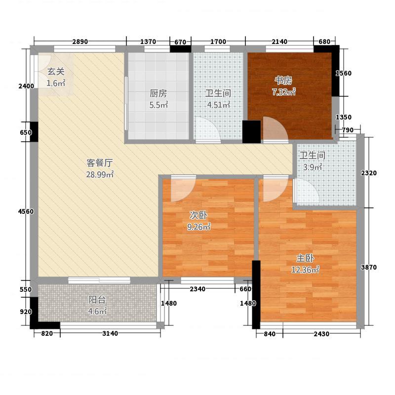 天下城市星座二期31.42㎡B户型3室2厅2卫1厨
