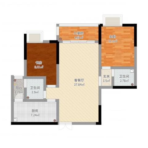 天府丽正3室1厅2卫1厨102.00㎡户型图