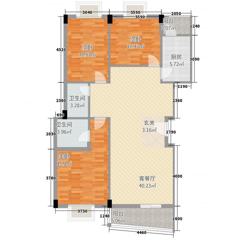 金山132.11㎡小区A户型3室2厅2卫1厨