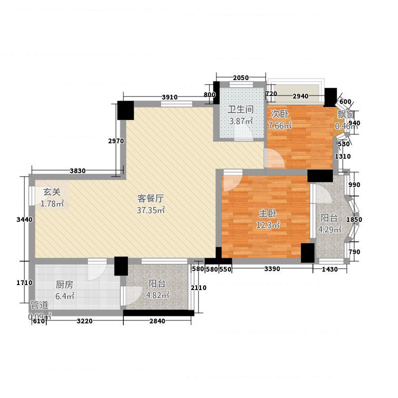 凤凰公寓111.00㎡C户型2室2厅2卫1厨