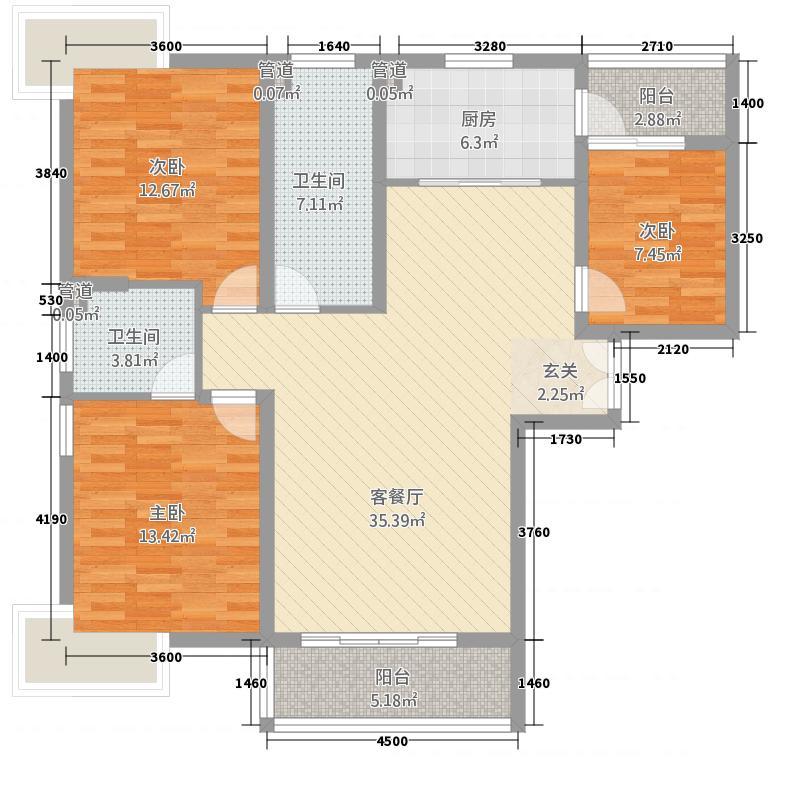 鹏盛家园122.60㎡套内10369户型3室2厅2卫1厨