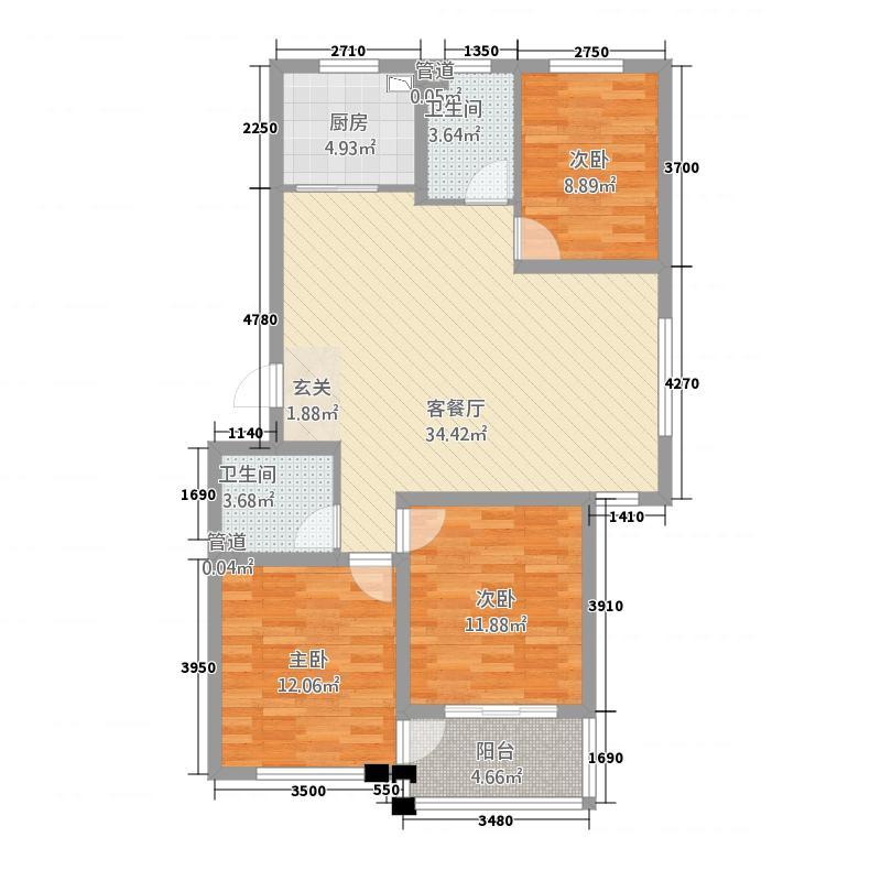 榉林美邸118.40㎡D户型3室2厅2卫