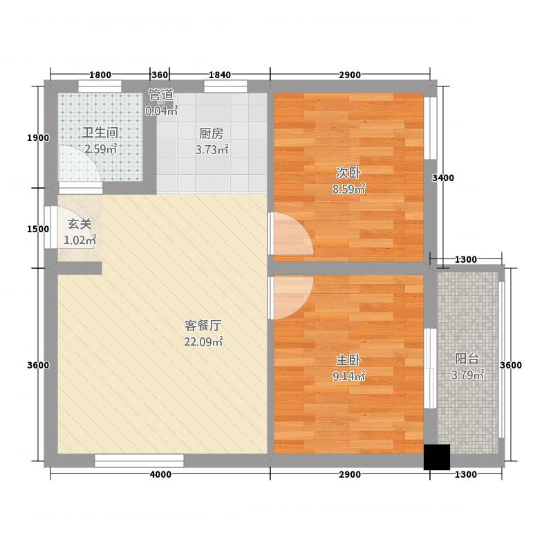 蔚兰天成国际公馆64.84㎡C户型2室2厅1卫1厨