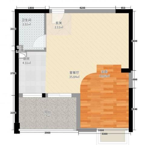 互助里1厅1卫0厨65.00㎡户型图