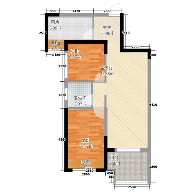 保利建业・香槟国际86.20㎡一期博林格户型2室2厅1卫1厨