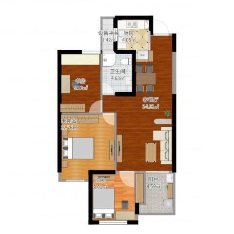 绿城桃源小镇2室1厅2卫1厨99.00㎡户型图