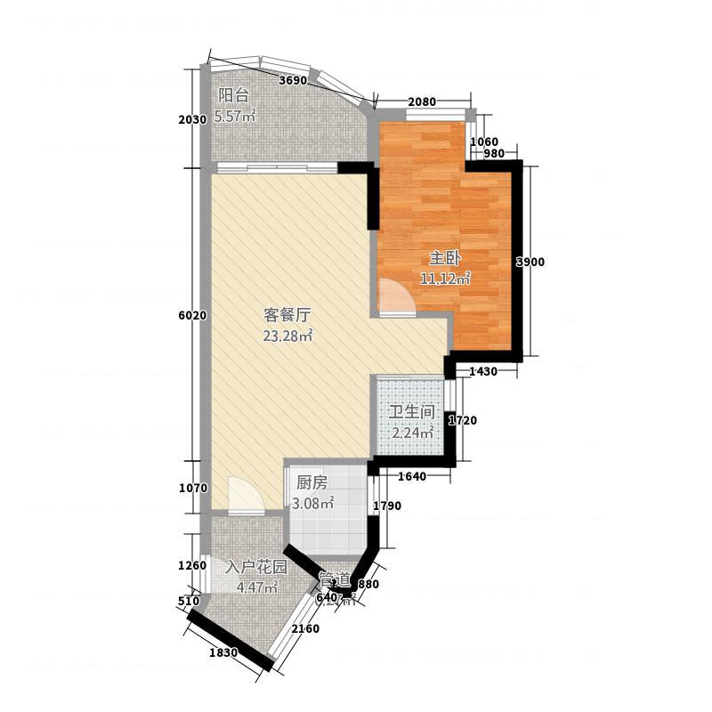 伟达雅郡6.63㎡A-3b颂雅居户型1室2厅1卫1厨