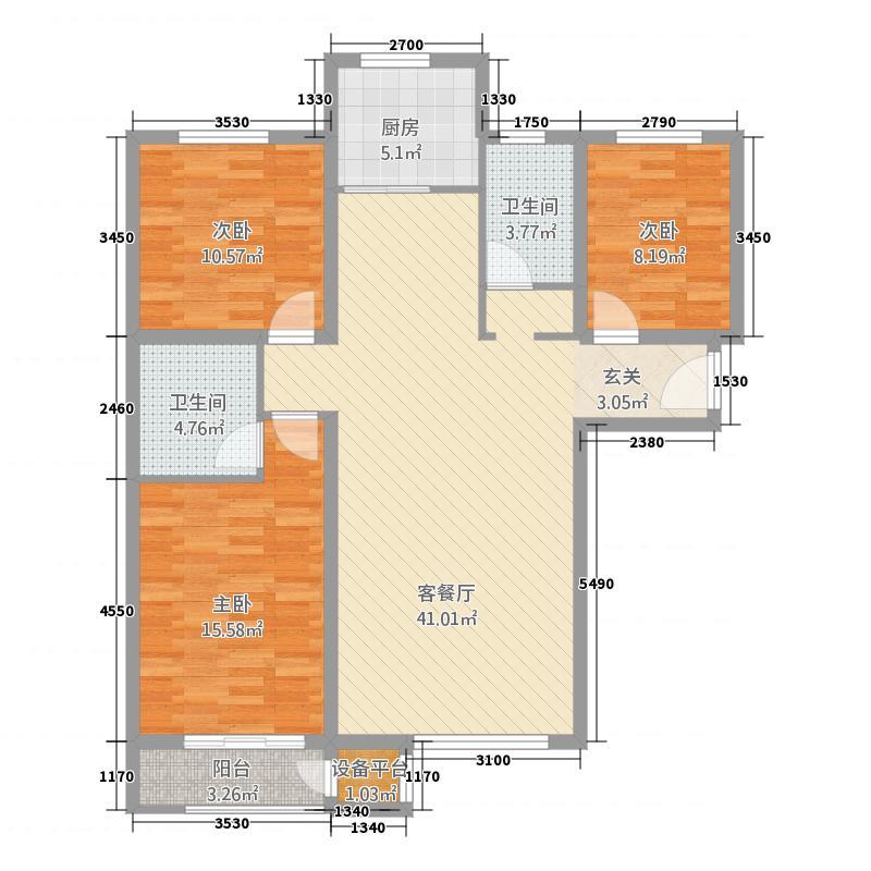 花溪墅1321133.25㎡B户型3室2厅1卫1厨
