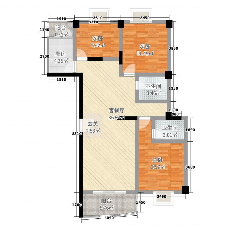 金山124.10㎡小区F户型3室2厅2卫1厨