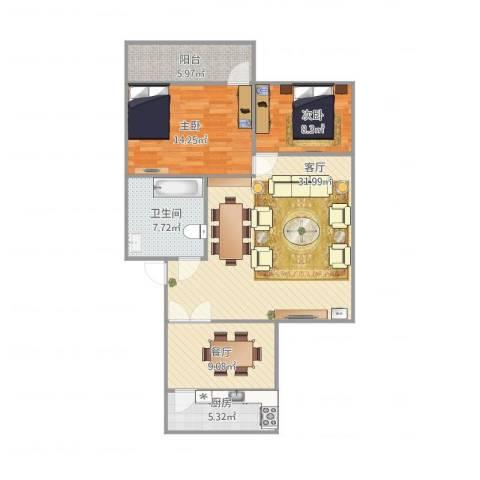 龙岱花园2室2厅1卫1厨111.00㎡户型图