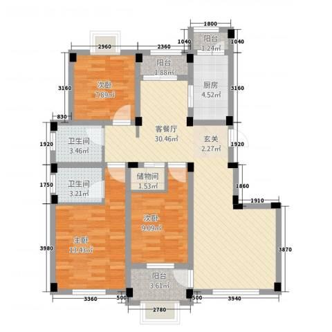 龙隐水庄3室1厅2卫1厨80.32㎡户型图