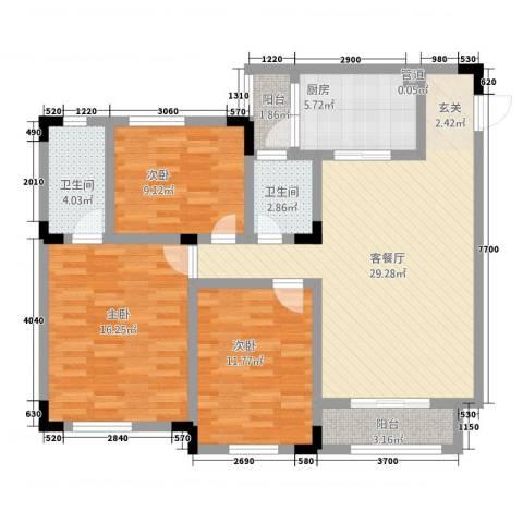 佳信・站前广场3室1厅2卫1厨84.10㎡户型图