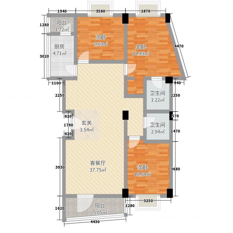 金山131.60㎡小区B户型3室2厅2卫1厨